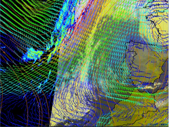 Composición con la imagen IR del canal 10.8 y vientos a 10 m, realizada mediante ePort